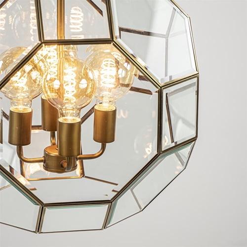 Grote hanglamp Lennox brons met helder glas