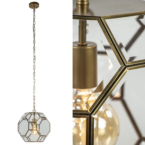 Light & Living hanglamp Lennox brons met helder glas
