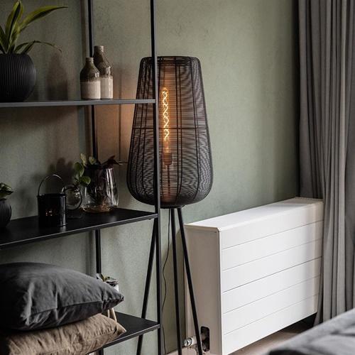 Driepoot vloerlamp Adeta mat zwart draad
