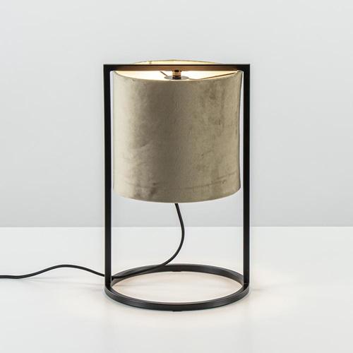 Kleine tafellamp Santos mat zwart met velourse kap