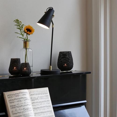 Verstelbare bureaulamp Barre mat zwart met goud