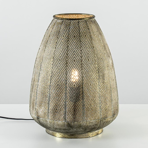 Oosterse tafellamp Lavello antiek goud/wit