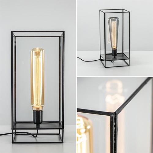 Light & Living tafellamp Solas zwart met glas