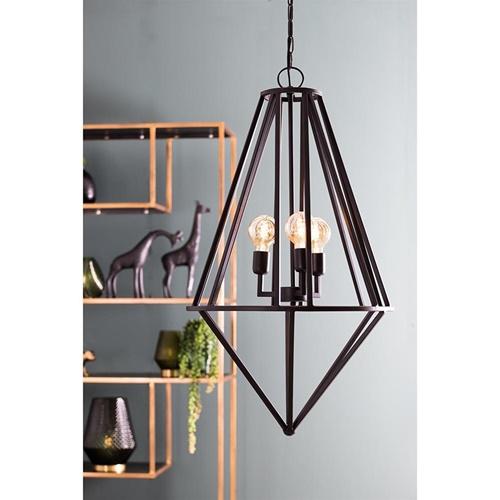 Mat zwarte 3-lichts hanglamp Talisa L&L