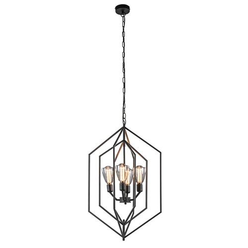 Grote hanglamp Anastasia 4-lichts mat zwart