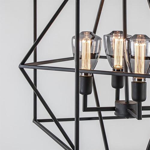 Light & Living hanglamp Baula mat zwart 4-lichts