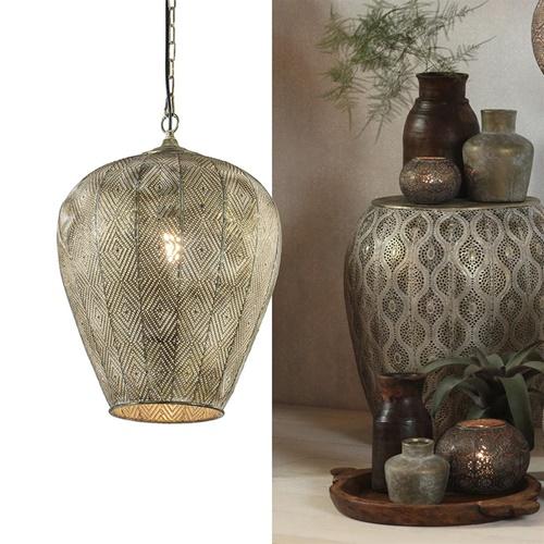 Sfeervolle hanglamp Lavello antiek goud/wit