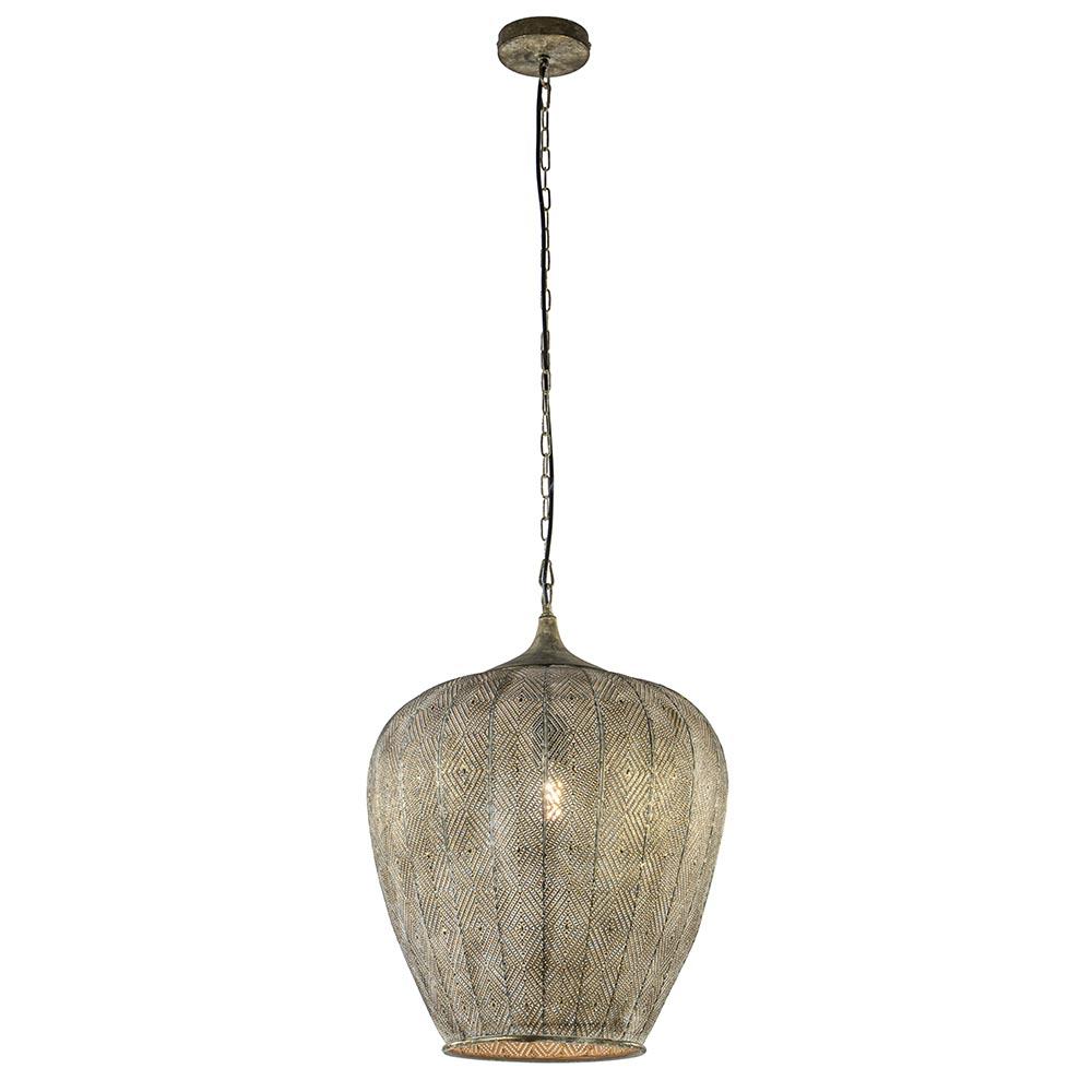 Oosterse hanglamp Lavello antiek goud/wit