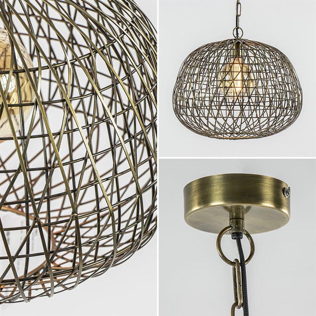 Landelijke hanglamp Alwina antiek brons L&L