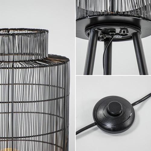 Driepoot vloerlamp Gruaro zwart met brons