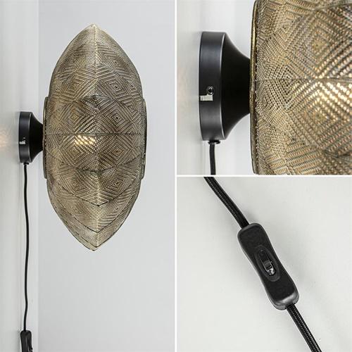 Wandlamp Lavello antiek goud/wit Oosters