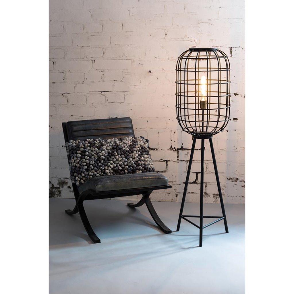Landelijke vloerlamp Toah mat zwart met brons