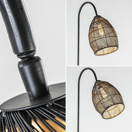 Vloerlamp Meya mat zwart/goud Light and Living