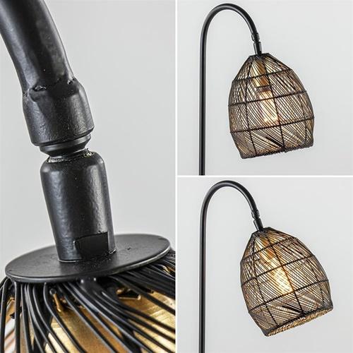 Landelijke tafellamp Meya mat zwart met goud