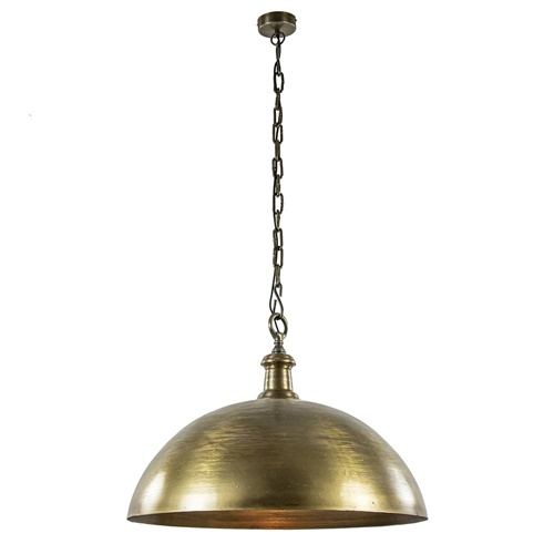 Grote koepel hanglamp Demi 70 cm ruw oud brons