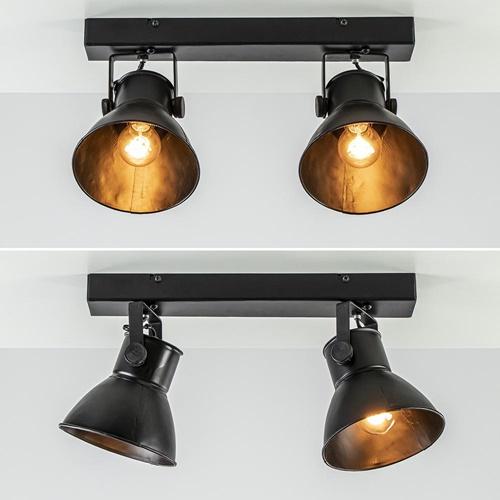2-Lichts metalen plafondlamp Eliano mat zwart