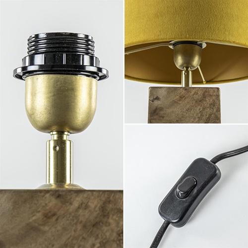 Houten lampvoet Cumani met bronzen fitting