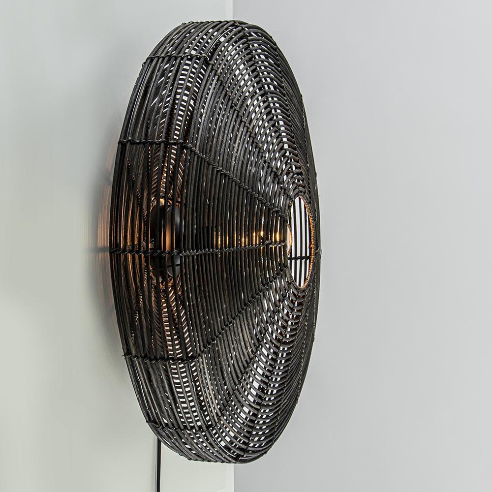 Grote wandlamp Mataka donker bruin rotan inclusief snoer