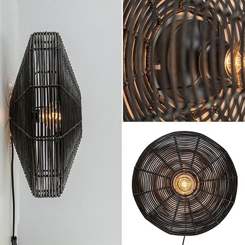 Botanische wandlamp Mataka donker bruin rotan L&L