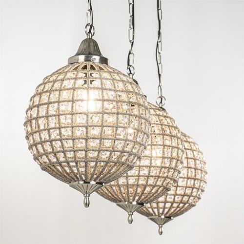 Kristallen hanglamp Cheyenne 3-lichts met zwarte balk