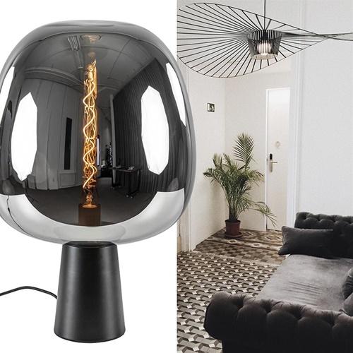 Grote tafellamp Amarah zwart met smoke glazen kap