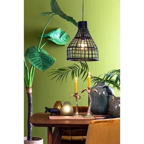 Botanische hanglamp Puerto rotan mat zwart