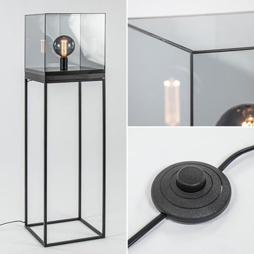 Vloerlamp Askjer kubus zwart/smoke glas