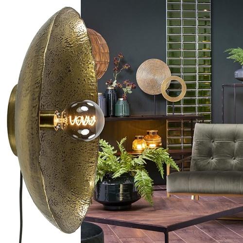 Robuuste wandlamp Neva rond 50 cm antiek brons