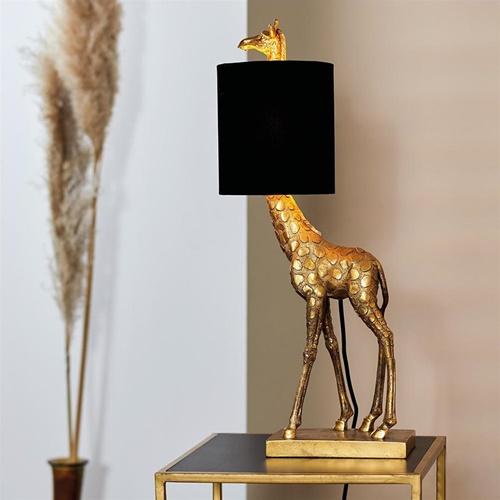 Tafellamp Giraffe antiek brons met velvet zwarte kap