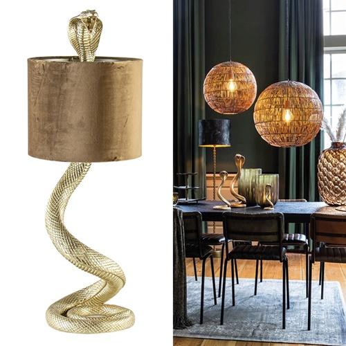 Gouden tafellamp Snake met velours kap