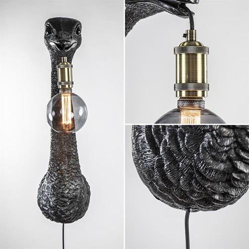 Grote wandlamp Ostrich mat zwart