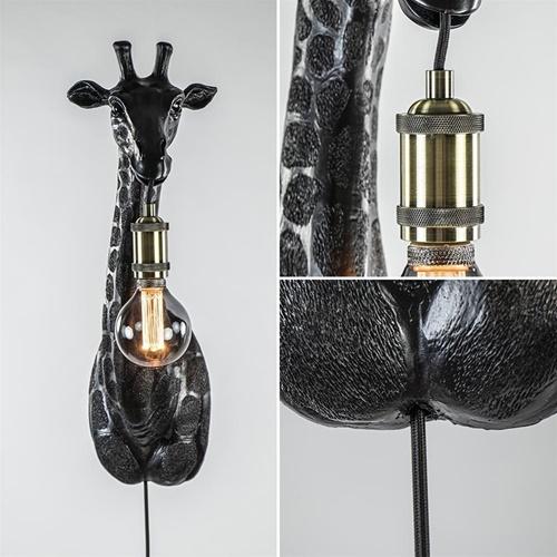 Mat zwarte wandlamp Giraffe Light and Living