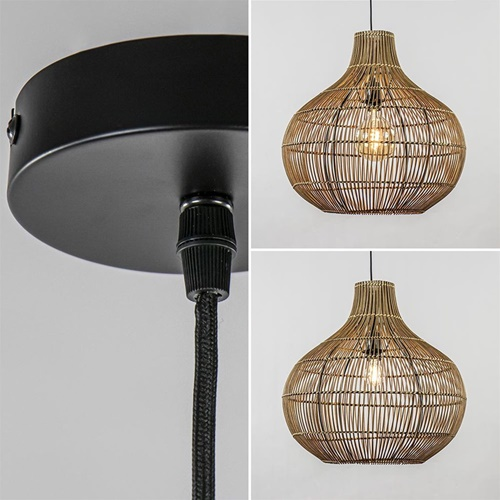 Light and Living hanglamp Pacino donker rotan