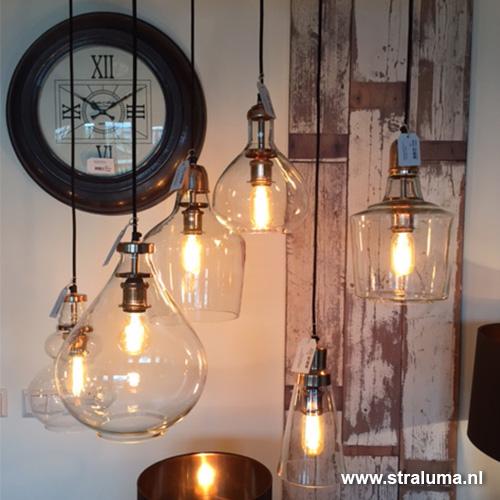 New Glazen hanglamp koper Sage hal-keuken | Straluma #YK94