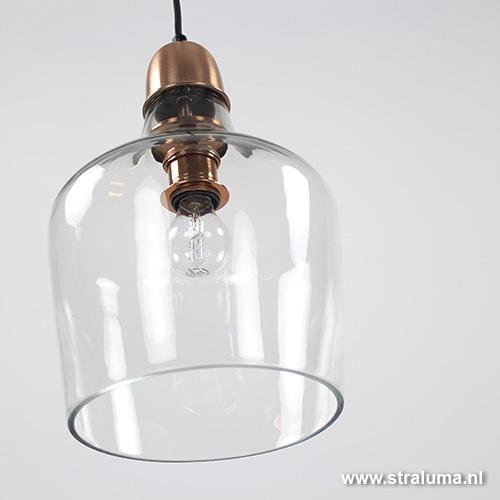 *glazen hanglamp koper sage light living - www.straluma.nl