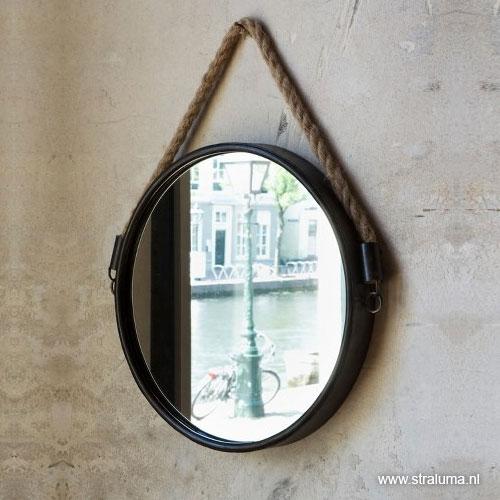 Trendy landelijke spiegel zwart met touw straluma for Ronde spiegel met touw