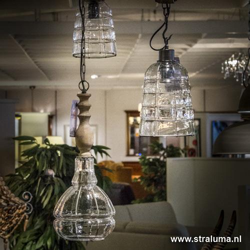 landelijke hanglamp sacha hout met glas straluma