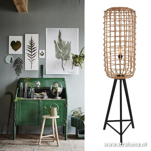Botanische vloerlamp rotan woonkamer | Straluma