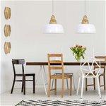 **Scandinavische hanglamp wit/hout L&L