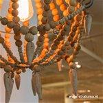 *Landelijke kralen hanglamp hout klein