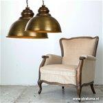 *Landelijke hanglamp brons met hout 60cm
