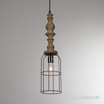 *Landelijke draadhanglamp met hout