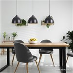 Eettafel hanglamp 3-kappen zwart-goud