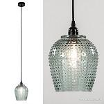 Glazen hanglamp groen gebobbeld