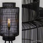 Trendy draad-vloerlamp zwart met brons