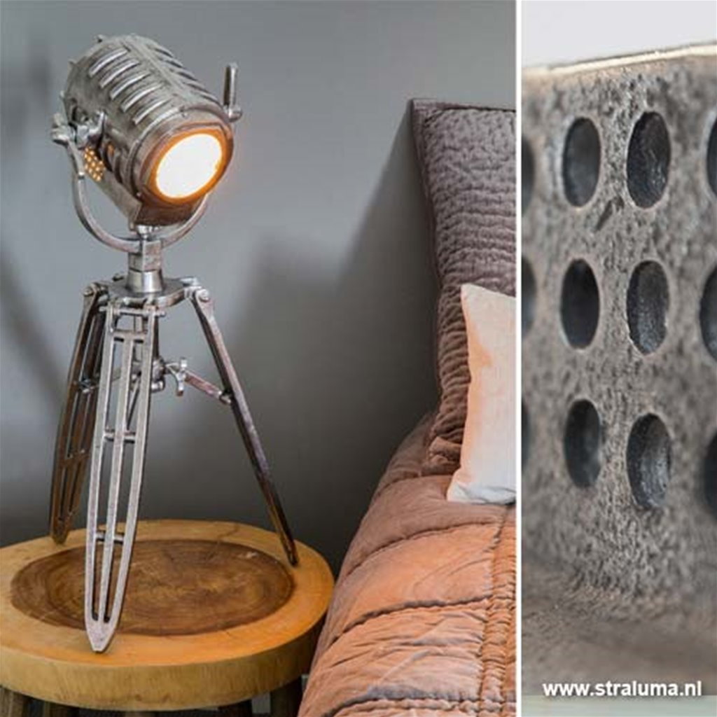 Trendy driepoot tafellamp antiek-zilver