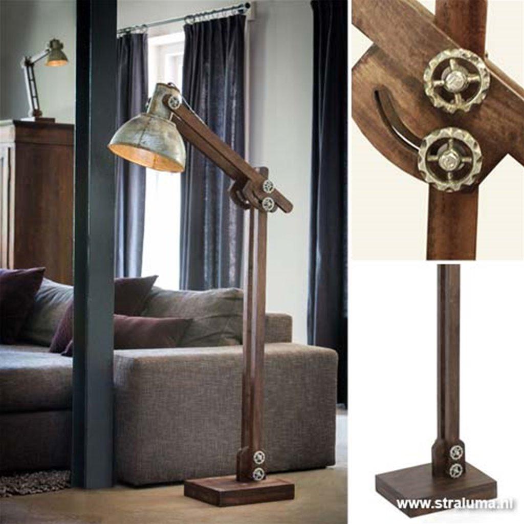 Landelijke industriële vloerlamp Ekerd hout