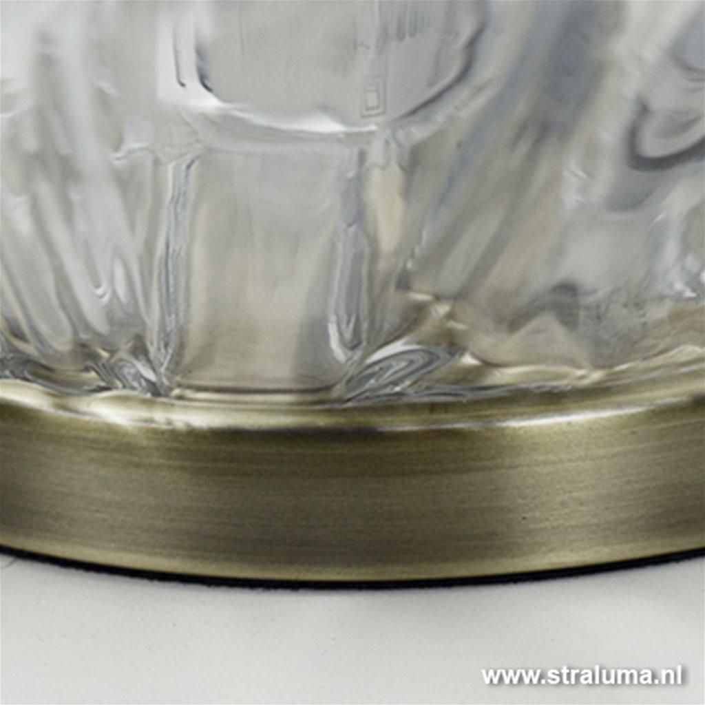 Klassieke glazen tafellamp Guido brons