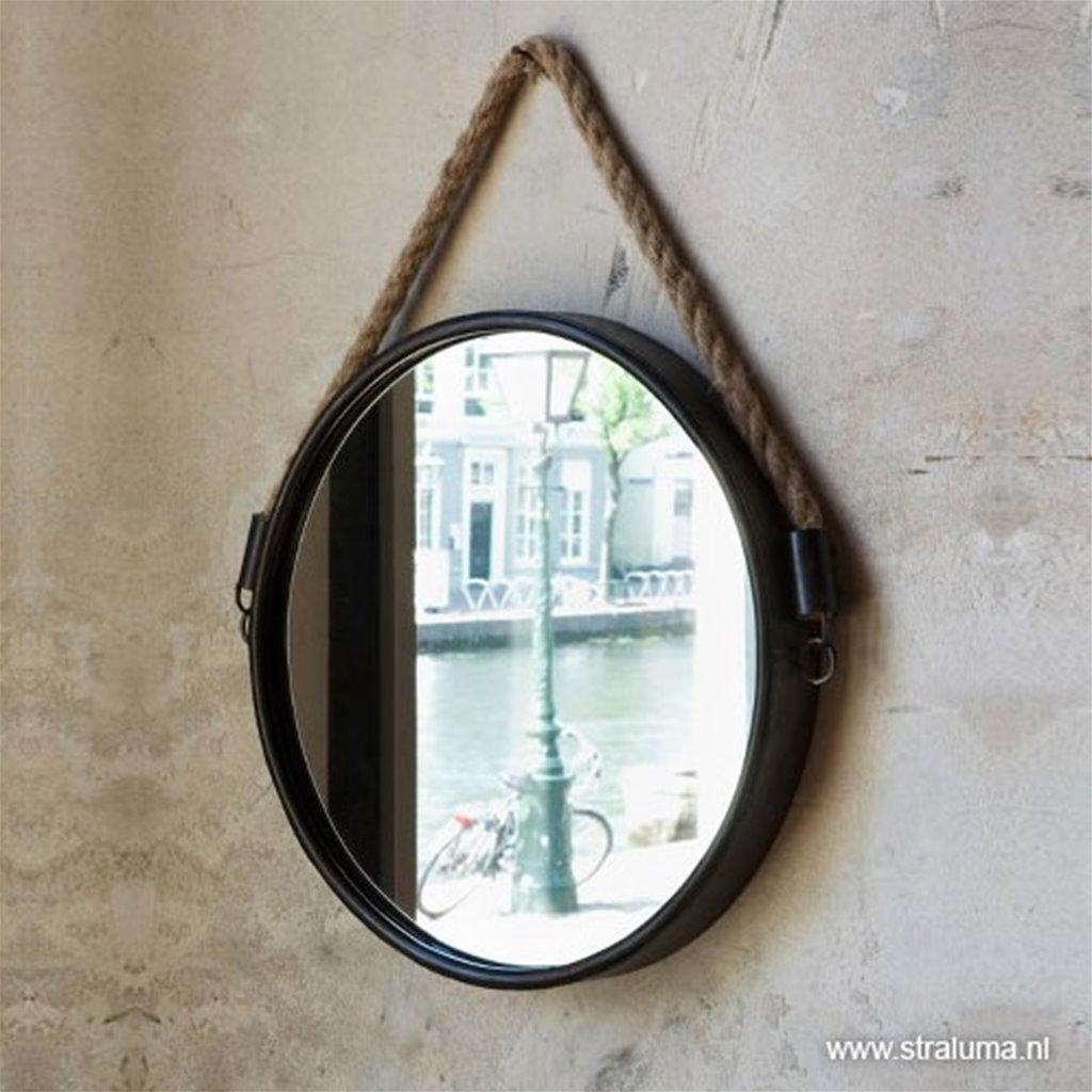 Trendy landelijke Spiegel zwart met touw