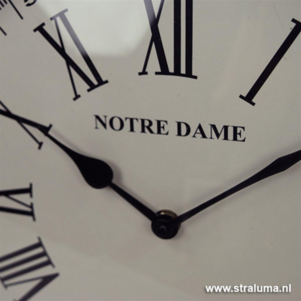 Trendy chique klok Notre Dame zilver